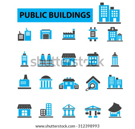 Public buildings, houses icons concept. Hospital, factory, mall, government building, city buildings, library building. Vector illustration set - stock vector