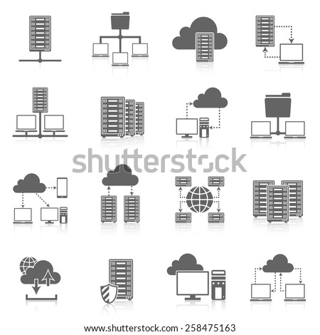Public cloud secure data storage internet service hosting connected network users files black abstract isolated vector illustration - stock vector