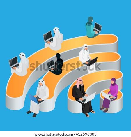 Public free Wi-Fi, Wi-Fi Icon hotspot zone wireless connectio, Wi-Fi Icon Social Networking Communication, Wi-Fi Icon Concept, Wi-Fi Icon Isometric, Wi-Fi Icon flat 3d vector illustrations - stock vector