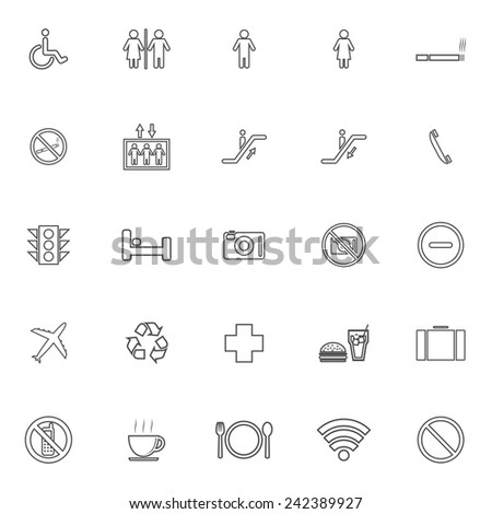 Public line icons on white background, stock vector - stock vector