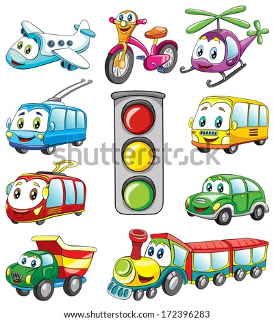 public transport with fase, set , vector illustration on white background - stock vector