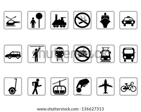 public transportation buttons - stock vector