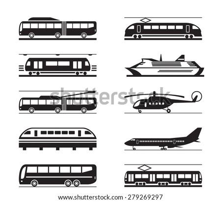 Public transportation icon set - vector illustration - stock vector