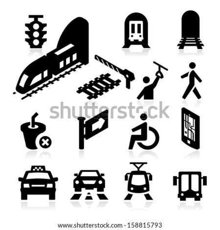 Public Transportation Icons - stock vector