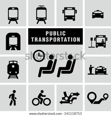 Public transportation set - stock vector
