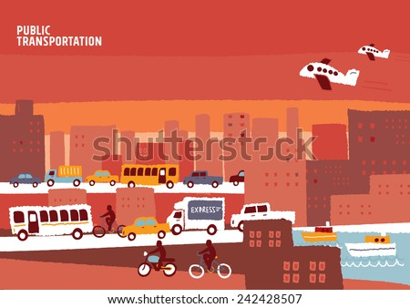 Public transportation vector background - stock vector