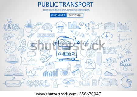 Public Transports concept wih Doodle design style :best routes, users satisfactions, gas saving. Modern style illustration for web banners, brochure and flyers. - stock vector