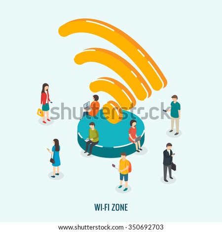 Public Wi-Fi zone wireless connection technology. Isometric 3d vector illustrations - stock vector