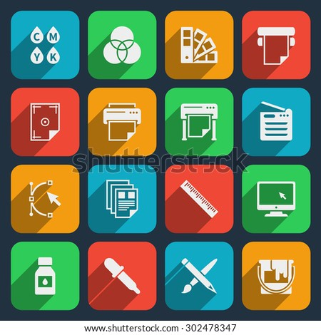Publisher and printing house icons. Printer and paper, office equipment, scan machine and cmyk. Vector illustration - stock vector