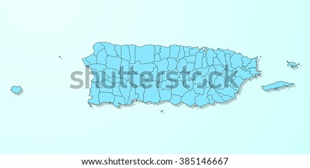 Puerto Rico blue map on degraded background vector - stock vector