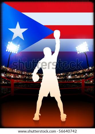 Puerto Rico Boxing on Stadium Background Original Illustration - stock vector