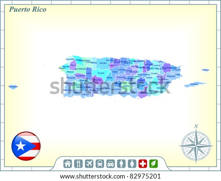 Puerto Rico Map with Flag Buttons and Assistance & Activates Icons Original Illustration - stock vector