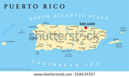 Puerto Rico Political Map with capital San Juan, a United States territory in the northeastern Caribbean, with important cities, rivers and lakes. English labeling and scaling. Illustration. - stock vector