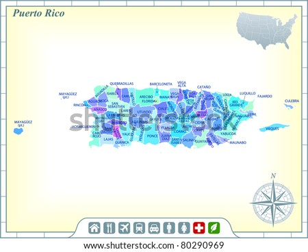 Puerto Rico State Map with Community Assistance and Activates Icons Original Illustration - stock vector