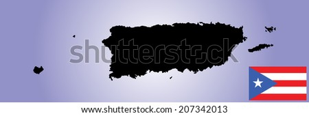 Puerto Rico vector map and vector flag isolated on blue background silhouette. High detailed illustration.  - stock vector