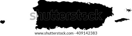 Puerto Rico vector map isolated on white background silhouette. High detailed illustration. - stock vector