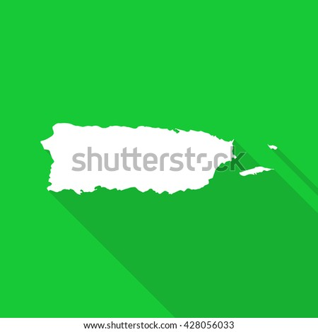 Puerto Rico white map,border flat simple style with long shadow on green  background - stock vector
