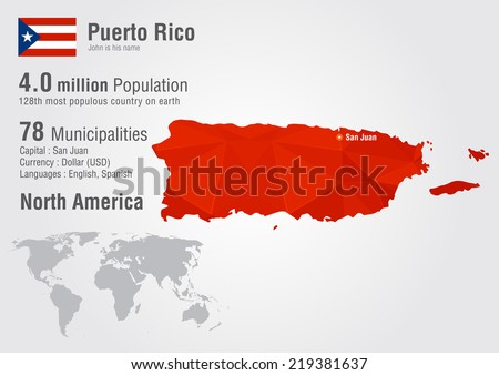 Puerto Rico world map with a pixel diamond texture. World geography. - stock vector