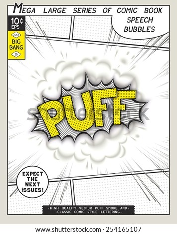 Puff. Explosion in comic style with lettering and realistic puffs smoke. 3D vector pop art speech bubble - stock vector