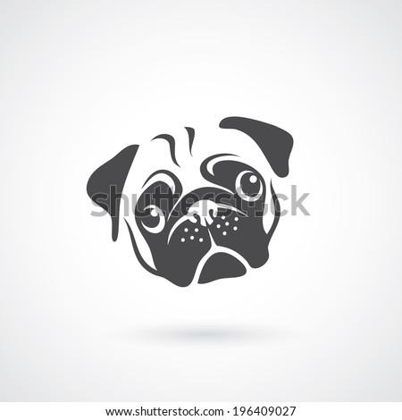 Pug dog face - vector illustration - stock vector