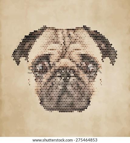Pug face - Dog portrait made of geometrical shapes - Vintage Design - stock vector