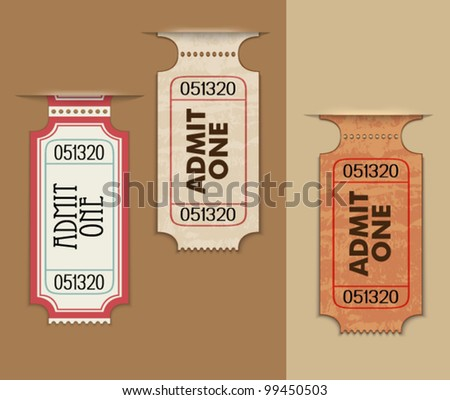 Pull Out Ticket Stubs - Admission ticket tabs as background, three dimensional, grungy vintage look - stock vector