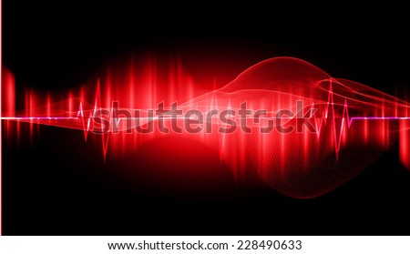 pulse heart glossy web icon on dark red background. Light Abstract Technology background for computer graphic website and internet.  - stock vector