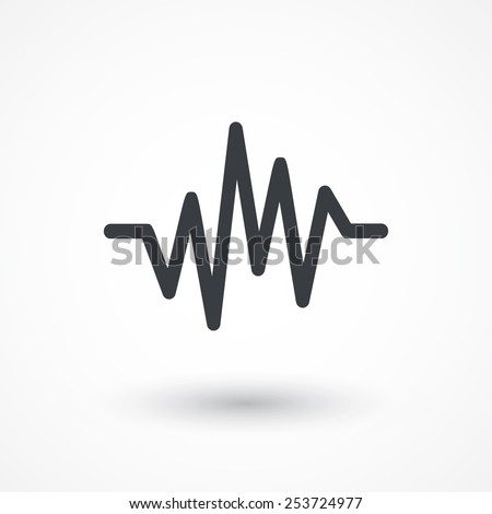 Pulse Heart Rate Vector Icon in flat style  - stock vector