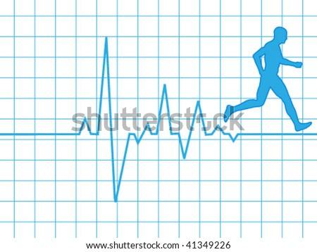 pulse in running - stock vector