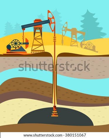 Pump jack in the Background of Fir Trees and Working Oil Pumps and Drilling Rig, Oil Pump, Petroleum Industry. Flat design. Vector Illustration - stock vector