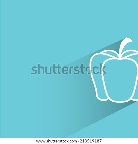 pumpkin, blue background, flat and shadow theme design - stock vector