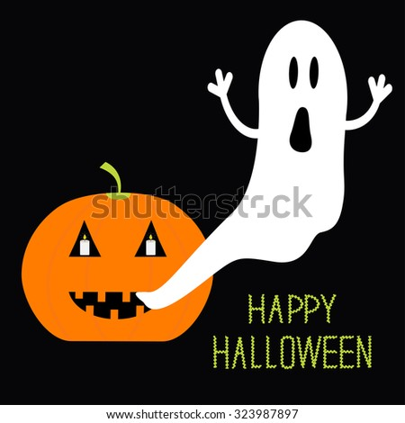 Pumpkin Candles Flying Ghost. Halloween card for kids. Flat design. Vector illustration - stock vector