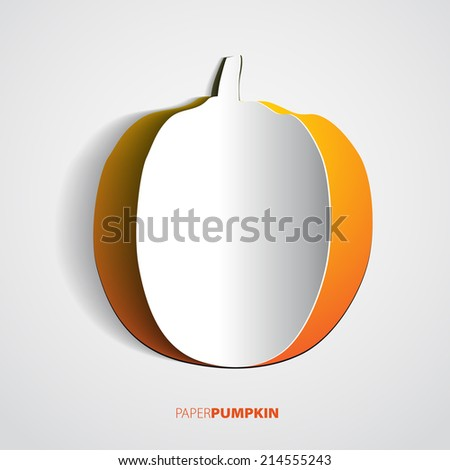 Pumpkin cut out or papercut, vector illustration - stock vector