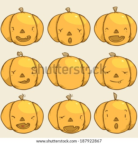 Pumpkin emotion set - stock vector