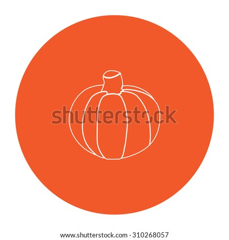 Pumpkin. Flat outline white pictogram in the orange circle. Vector illustration icon - stock vector