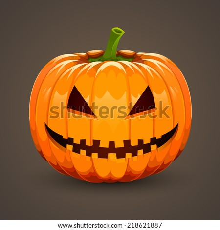 Pumpkin for Halloween on dark background. Vector illustration - stock vector