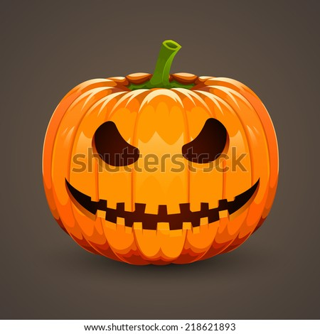 Pumpkin for Halloween on dark background. Vector illustration. Var2 - stock vector