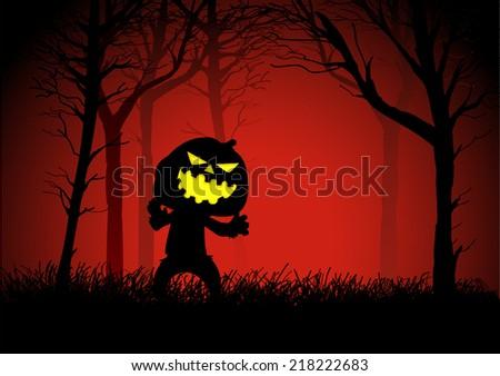 Pumpkin ghost in woods, for Halloween theme - stock vector
