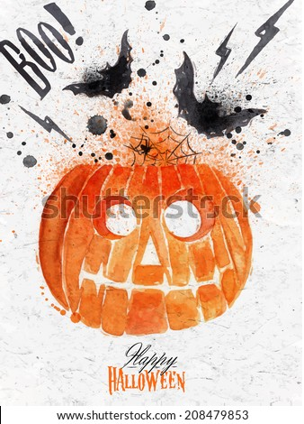 Pumpkin halloween poster with lettering stylized drawing vintage style - stock vector