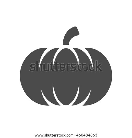 Pumpkin icon in single grey color. Halloween autumn celebration - stock vector