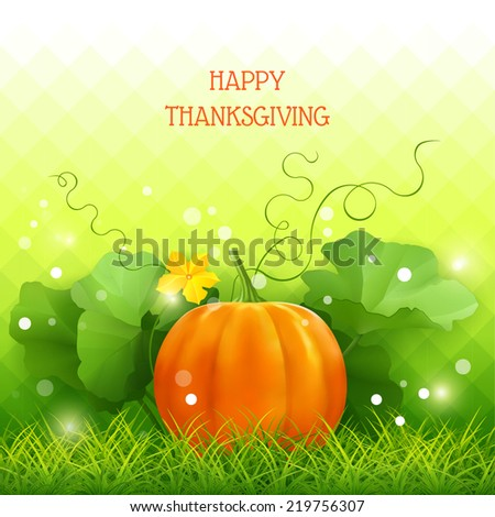 Pumpkin, leaves, grass in Thanksgiving vector card - stock vector