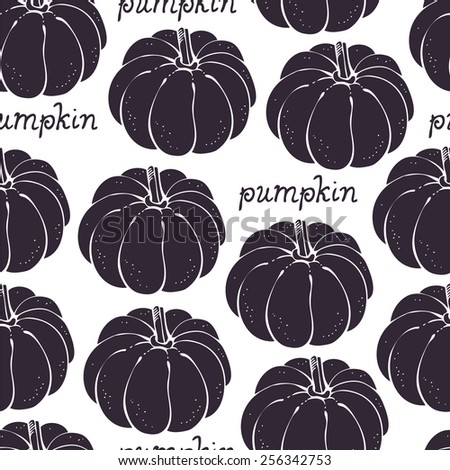 Pumpkin seamless background, vegetable pattern - stock vector