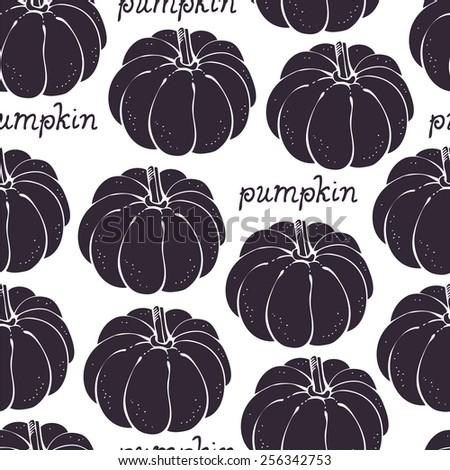 Pumpkin seamless background, vegetable pattern - stock vector