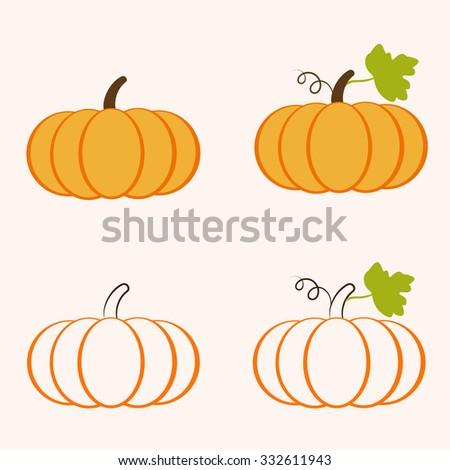 pumpkin set - stock vector