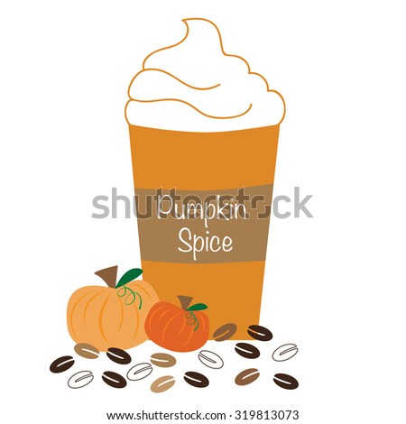 Pumpkin Spice Whipped Coffee - stock vector