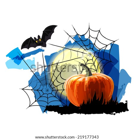Pumpkin, spider webs, bat and moon. Halloween Party Background - stock vector