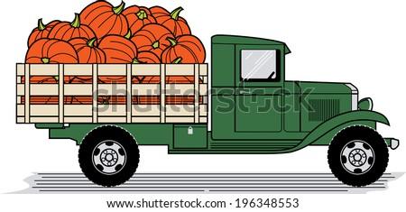 Pumpkin Truck - stock vector