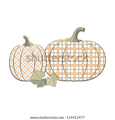 pumpkins isolated on white background. Vector illustration.Filling seamless pattern - stock vector