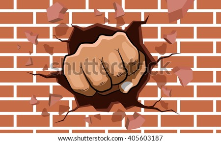 punching fist smashing through a concrete and brick wall - stock vector