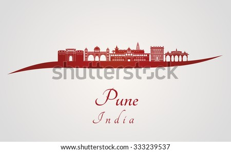 Pune skyline in red and gray background in editable vector file - stock vector